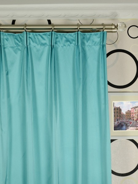 Waterfall Solid Blue Versatile Pleat Faux Silk Curtains Heading Style
