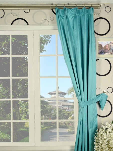 Waterfall Solid Blue Versatile Pleat Faux Silk Curtains