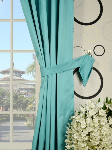Waterfall Solid Blue Versatile Pleat Faux Silk Curtains Decorative Tiebacks