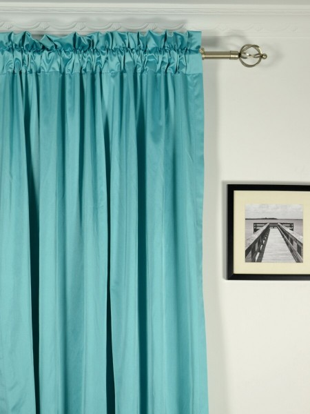 Waterfall Solid Blue Rod Pocket Faux Silk Curtains