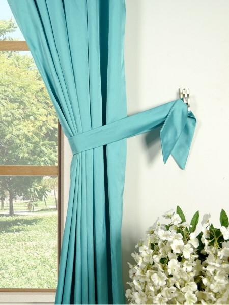 Waterfall Solid Blue Rod Pocket Faux Silk Curtains Decorative Tiebacks