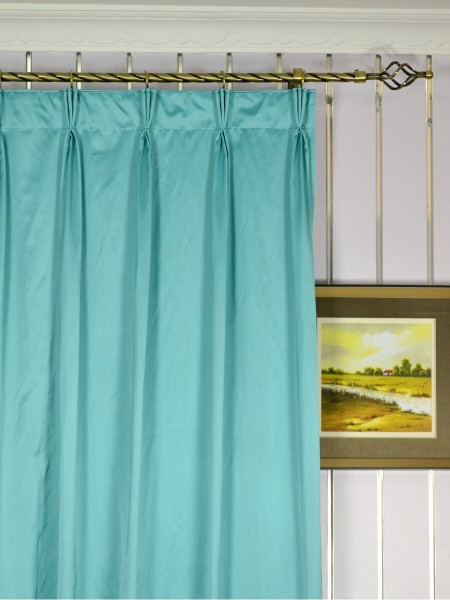 Waterfall Solid Blue Triple Pinch Pleat Faux Silk Curtains Heading Style