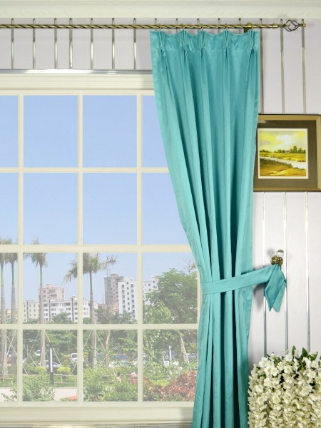 Waterfall Solid Blue Triple Pinch Pleat Faux Silk Curtains