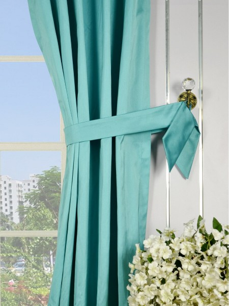 Waterfall Solid Blue Triple Pinch Pleat Faux Silk Curtains Decorative Tiebacks