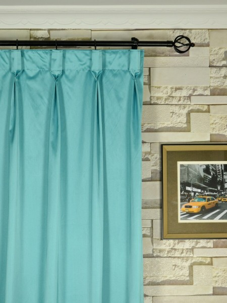 Waterfall Solid Blue Faux Silk Custom Made Curtains (Heading: Goblet Pleat)