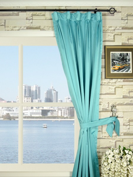 Waterfall Solid Blue Goblet Faux Silk Curtains