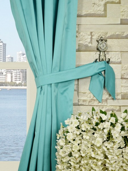 Waterfall Solid Blue Goblet Faux Silk Curtains Decorative Tiebacks