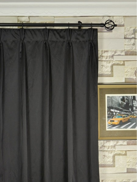 Waterfall Dark-colored Triple Pinch Pleat Faux Silk Curtains Heading Style