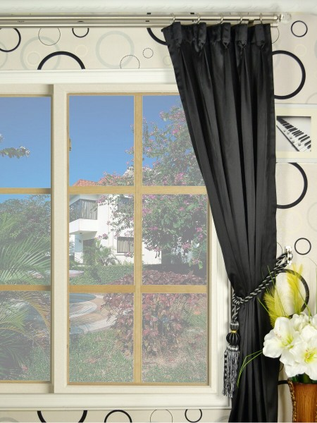 Waterfall Dark-colored Plain Goblet Faux Silk Curtains