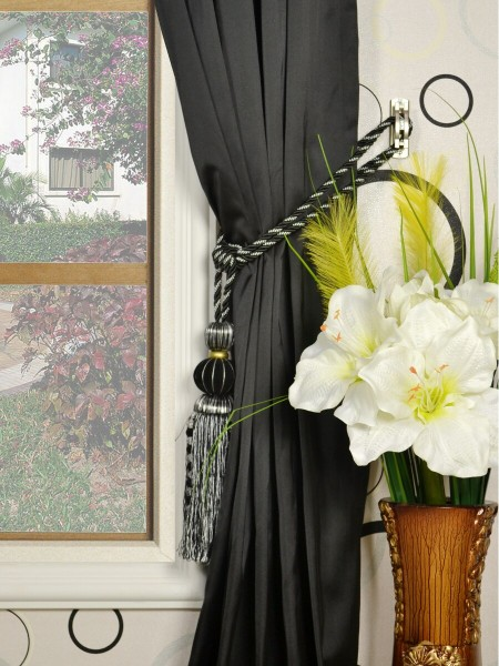 Waterfall Dark-colored Plain Goblet Faux Silk Curtains Tassel Tiebacks