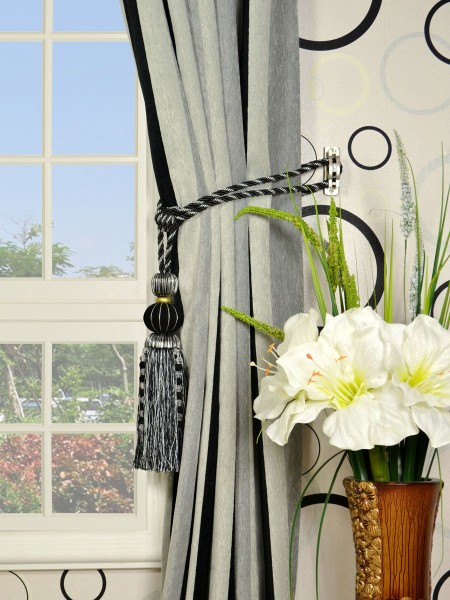 Petrel Vertical Stripe Versatile Pleat Chenille Curtains Tassel Tiebacks