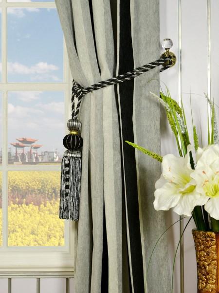 Petrel Vertical Stripe Grommet Chenille Curtains Tassel Tiebacks