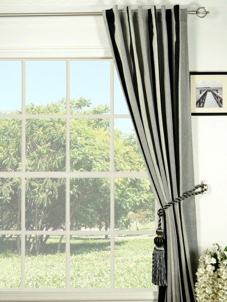 Petrel Vertical Stripe Back Tab Chenille Curtains