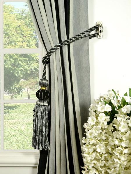 Petrel Vertical Stripe Back Tab Chenille Curtains Tassel Tiebacks