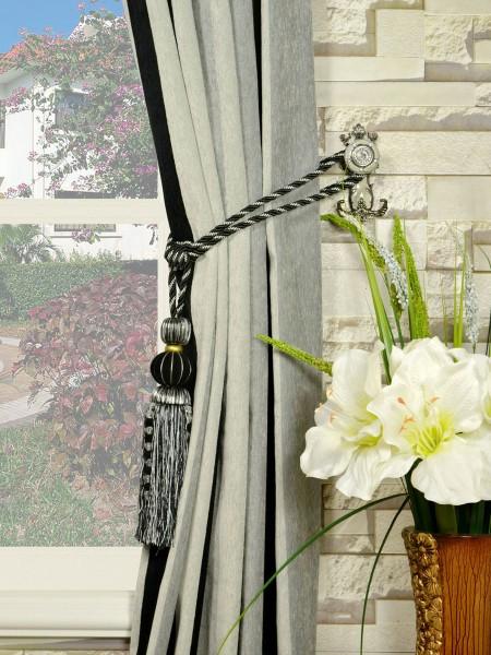 Petrel Vertical Stripe Single Pinch Pleat Chenille Curtains Tassel Tiebacks