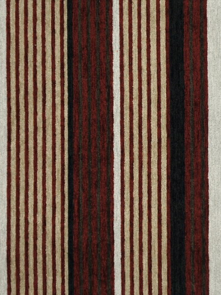 Petrel Heavy-weight Stripe Chenille Custom Made Curtains (Color: Tuscan red)
