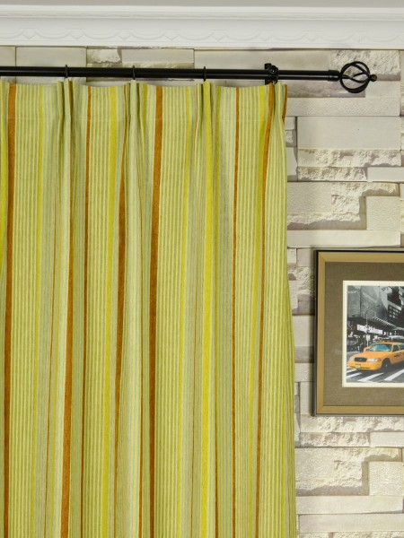 Petrel Heavy-weight Stripe Chenille Custom Made Curtains (Heading: Versatile Pleat)