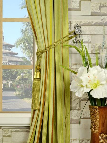 Petrel Heavy-weight Stripe Versatile Pleat Chenille Curtains Tassel Tiebacks