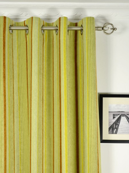 Petrel Heavy-weight Stripe Chenille Custom Made Curtains (Heading: Grommet)