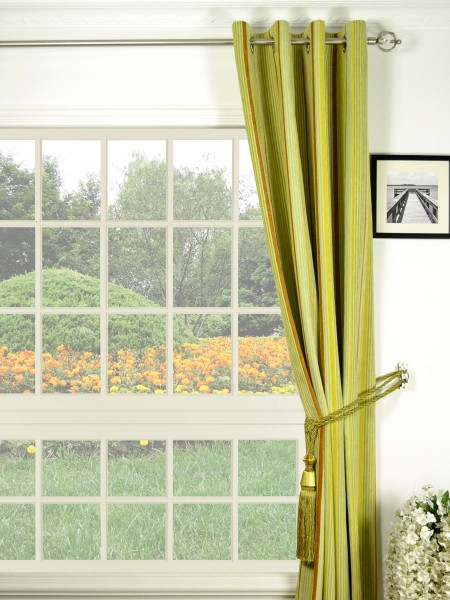 Petrel Heavy-weight Stripe Eyelet Chenille Curtains