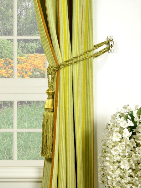 Petrel Heavy-weight Stripe Eyelet Chenille Curtains Tassel Tiebacks