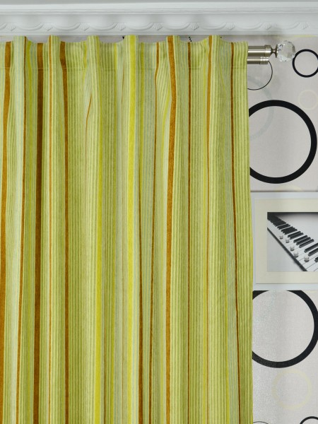 Petrel Heavy-weight Stripe Chenille Custom Made Curtains (Heading: Back Tab)