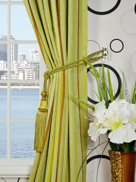 Petrel Heavy-weight Stripe Back Tab Chenille Curtains Tassel Tiebacks