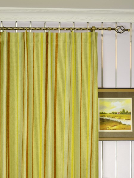 Petrel Heavy-weight Stripe Chenille Custom Made Curtains (Heading: Single Pinch Pleat)