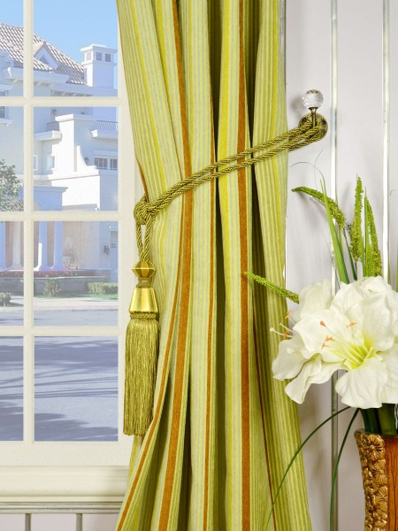 Petrel Heavy-weight Stripe Single Pinch Pleat Chenille Curtains Tassel Tiebacks