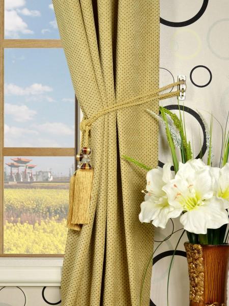 Coral Regular Spots Grommet Chenille Curtains Tassel Tiebacks