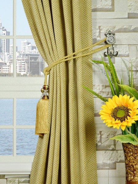 Coral Regular Spots Back Tab Chenille Curtains Tassel Tiebacks