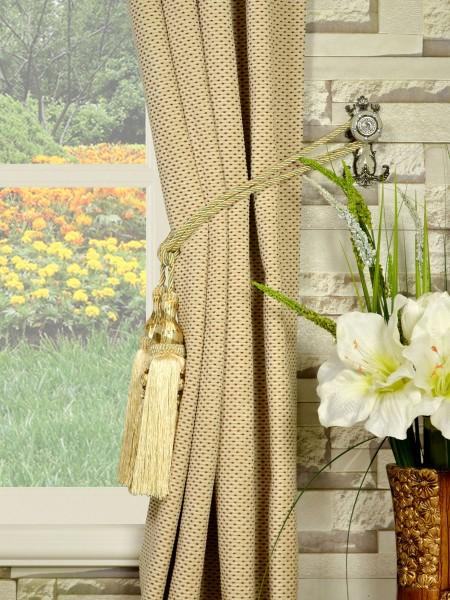 Coral Elegant Grommet Chenille Curtains Tassel Tiebacks