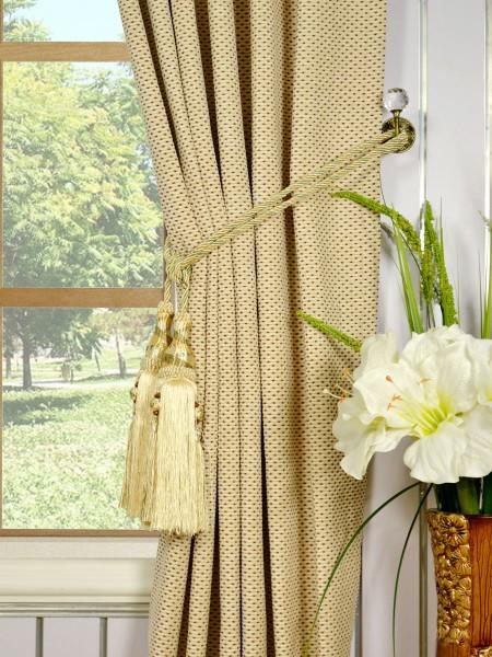 Coral Elegant Back Tab Chenille Curtains Tassel Tiebacks