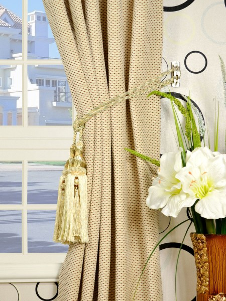 Coral Elegant Single Pinch Pleat Chenille Curtains Tassel Tiebacks