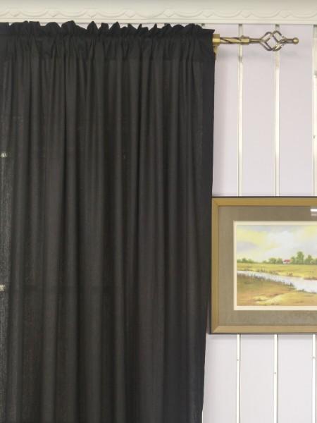Qyk246sb Eos Linen Gray Black Solid Custom Made Sheer Curtains