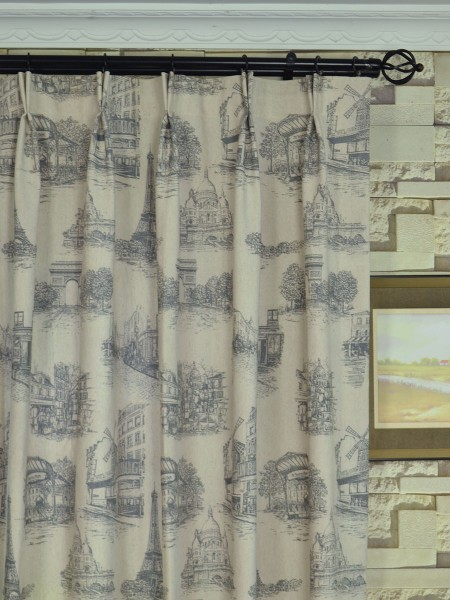 Eos Castle Printed Faux Linen Double Pinch Pleat Curtain Heading Style