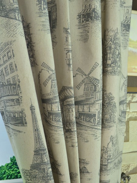 Eos Castle Printed Faux Linen Double Pinch Pleat Curtain Fabric