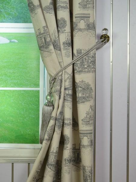 Eos Castle Printed Faux Linen Grommet Curtain Anquite