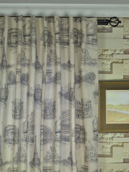 Eos Castle Printed Faux Linen Back Tab Curtain Heading Style