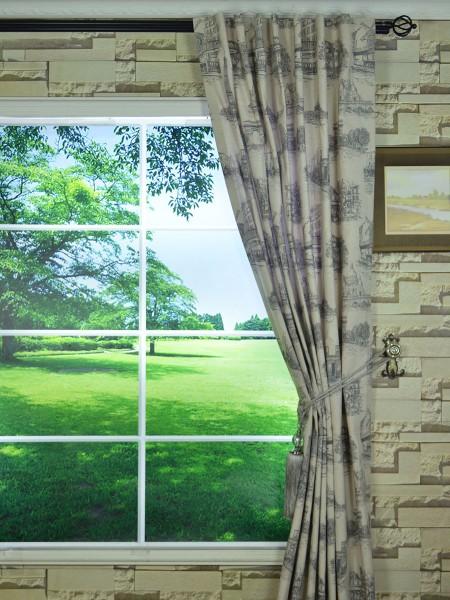 Eos Castle Printed Faux Linen Back Tab Curtain