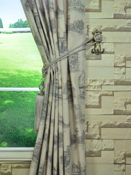 Eos Castle Printed Faux Linen Back Tab Curtain Tassel Tieback
