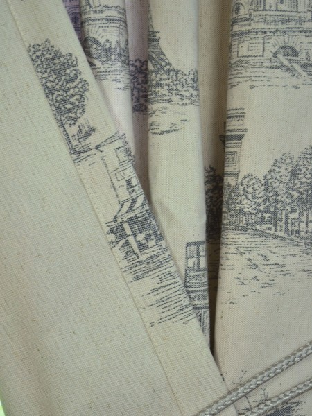Eos Castle Printed Faux Linen Back Tab Curtain Fabric