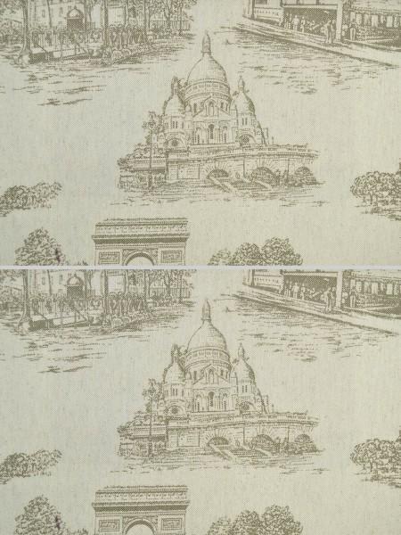 Eos Castle Printed Faux Linen Back Tab Curtain (Color: Drab)