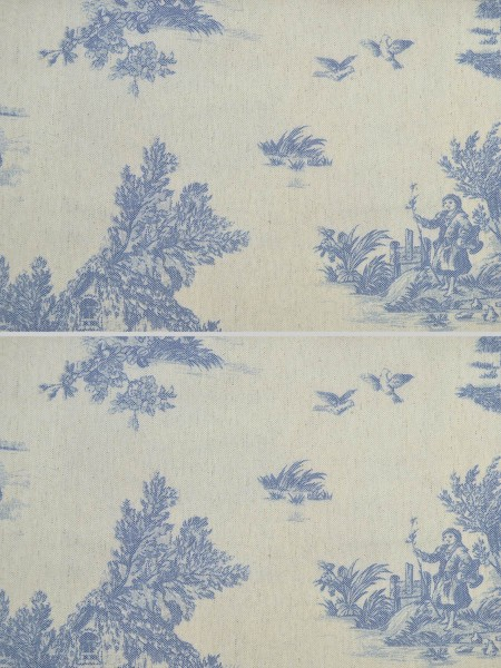Eos Farm Girl Printed Faux Linen Custom Made Curtains (Color: Baby Blue Eyes)