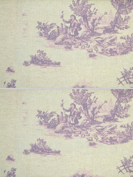 Eos Farm Girl Printed Faux Linen Custom Made Curtains (Color: Cameo Pink)