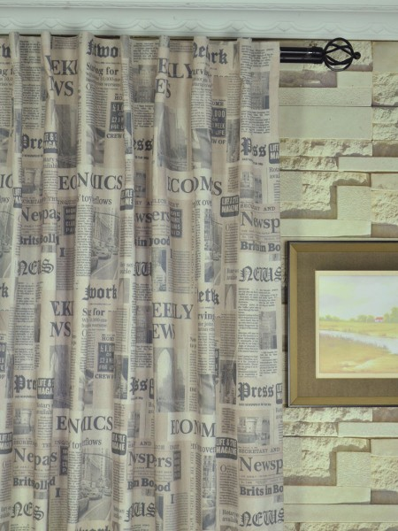 Eos Newspaper Printed Faux Linen Back Tab Curtain Heading Style