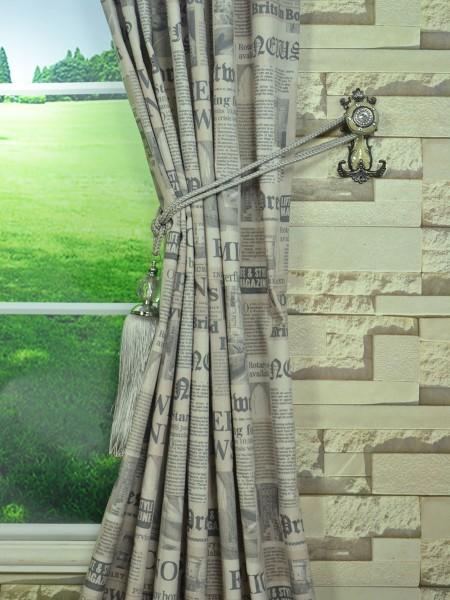 Eos Newspaper Printed Faux Linen Back Tab Curtain Tassel Tieback