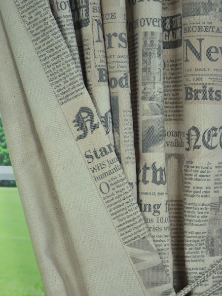 Eos Newspaper Printed Faux Linen Back Tab Curtain Fabric