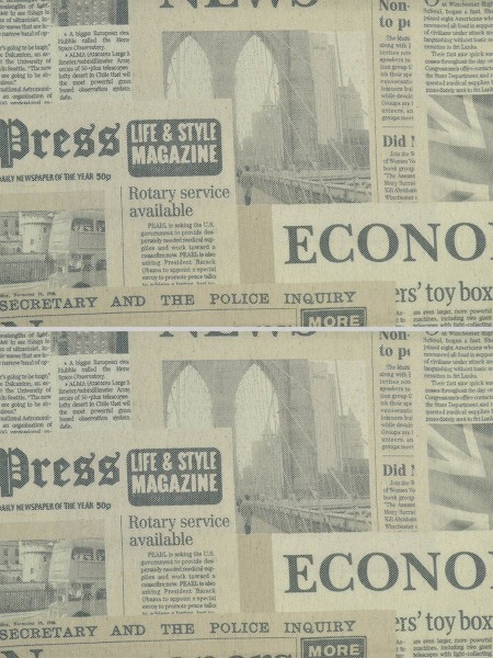Eos Newspaper Printed Faux Linen Back Tab Curtain (Color: Rackley)