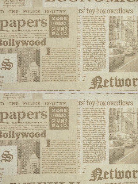 Eos Newspaper Printed Faux Linen Back Tab Curtain (Color: Chamoisee)